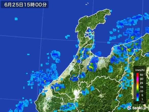 石川県の雨雲レーダー(2017年06月25日)