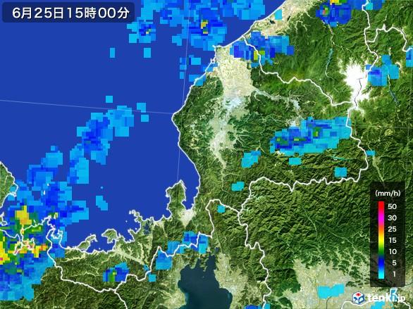 福井県の雨雲レーダー(2017年06月25日)