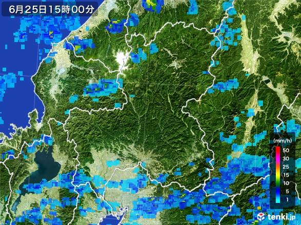 岐阜県の雨雲レーダー(2017年06月25日)