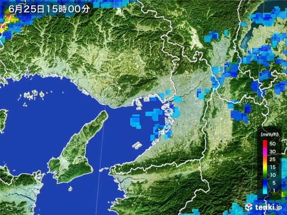 大阪府の雨雲レーダー(2017年06月25日)