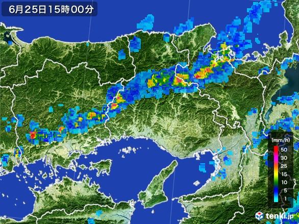 兵庫県の雨雲レーダー(2017年06月25日)
