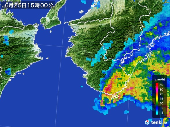 和歌山県の雨雲レーダー(2017年06月25日)