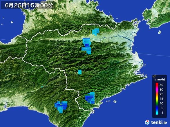 徳島県の雨雲レーダー(2017年06月25日)