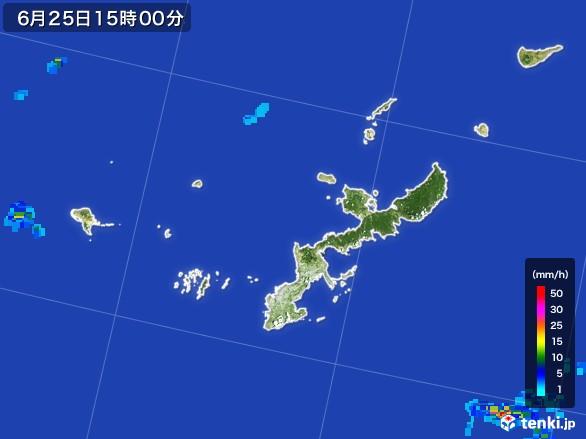 沖縄県の雨雲レーダー(2017年06月25日)