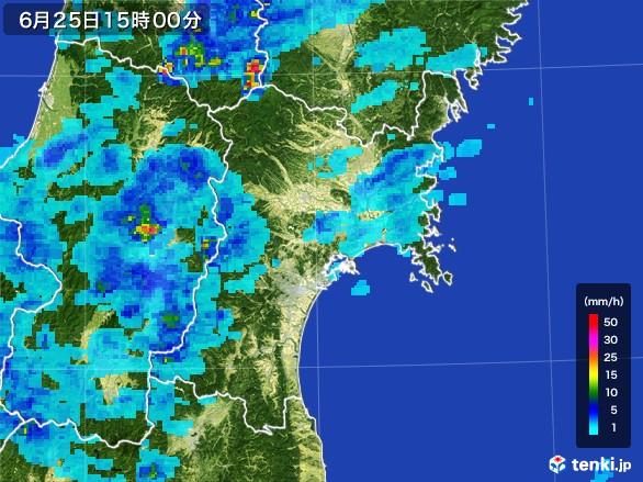 宮城県の雨雲レーダー(2017年06月25日)