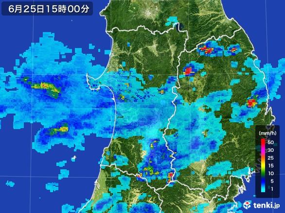 秋田県の雨雲レーダー(2017年06月25日)
