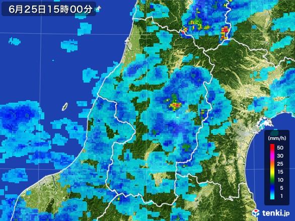 山形県の雨雲レーダー(2017年06月25日)