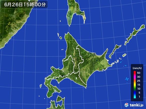 北海道地方の雨雲レーダー(2017年06月26日)