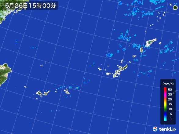 沖縄地方の雨雲レーダー(2017年06月26日)