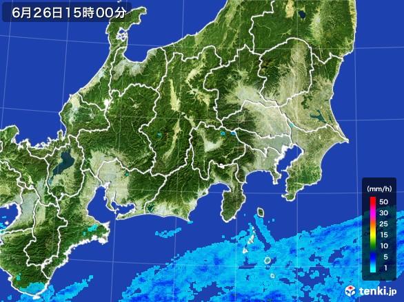 関東・甲信地方の雨雲レーダー(2017年06月26日)