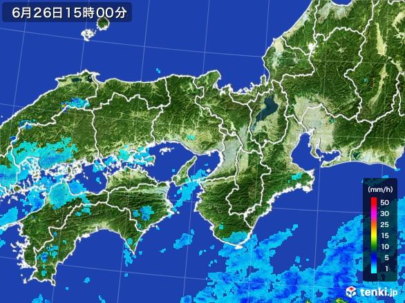 近畿地方の雨雲レーダー(2017年06月26日)