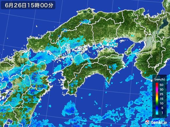 四国地方の雨雲レーダー(2017年06月26日)