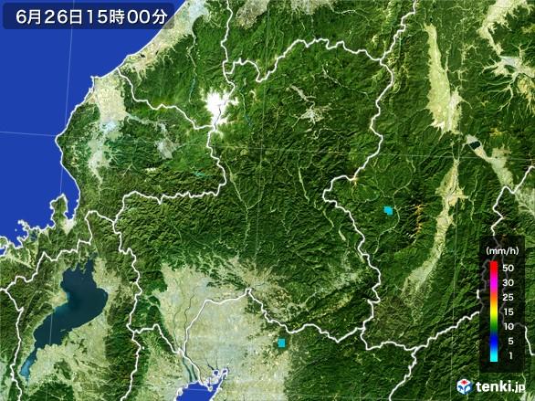 岐阜県の雨雲レーダー(2017年06月26日)