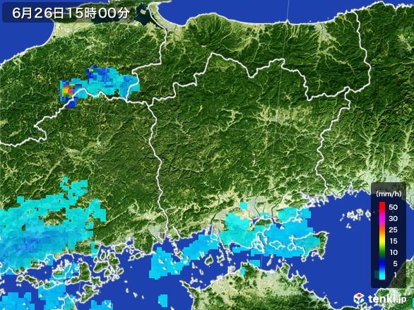岡山県の雨雲レーダー(2017年06月26日)