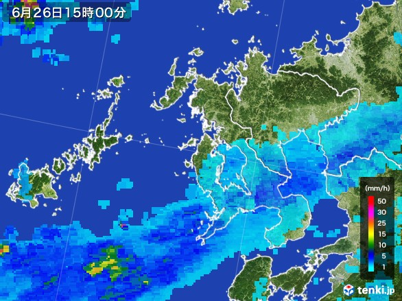 長崎県の雨雲レーダー(2017年06月26日)