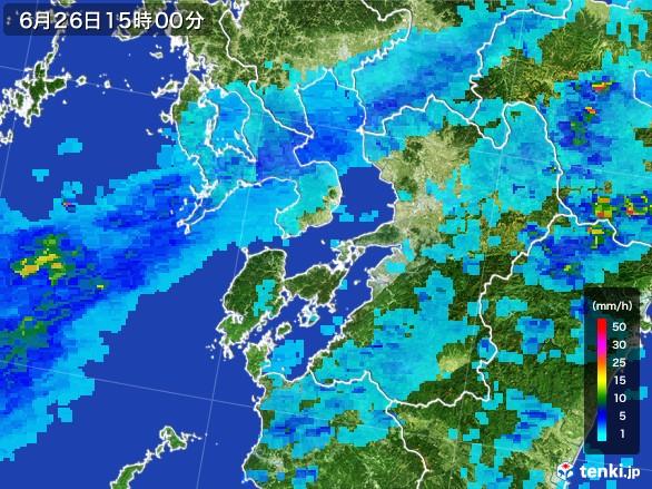 熊本県の雨雲レーダー(2017年06月26日)