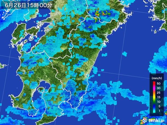 宮崎県の雨雲レーダー(2017年06月26日)