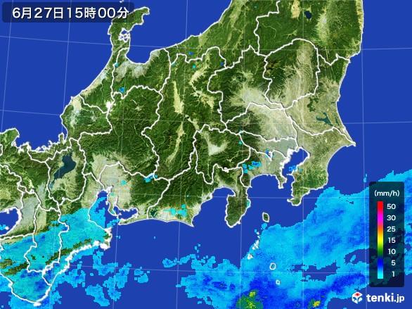関東・甲信地方の雨雲レーダー(2017年06月27日)