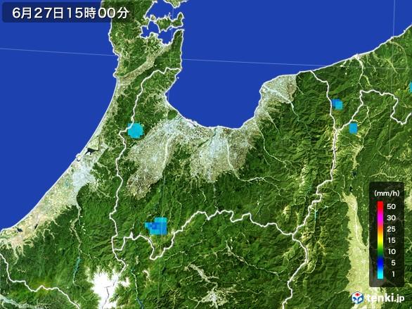 富山県の雨雲レーダー(2017年06月27日)