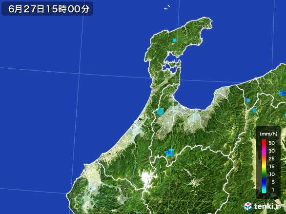 石川県の雨雲レーダー(2017年06月27日)