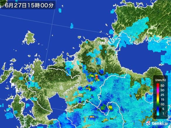 福岡県の雨雲レーダー(2017年06月27日)