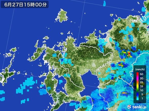 佐賀県の雨雲レーダー(2017年06月27日)