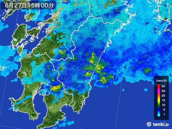 宮崎県の雨雲レーダー(2017年06月27日)