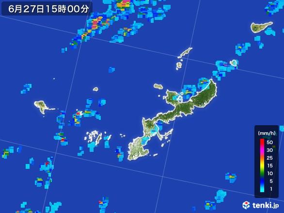 沖縄県の雨雲レーダー(2017年06月27日)