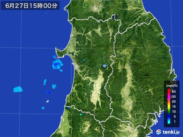 秋田県の雨雲レーダー(2017年06月27日)