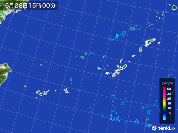 沖縄地方の雨雲レーダー(2017年06月28日)