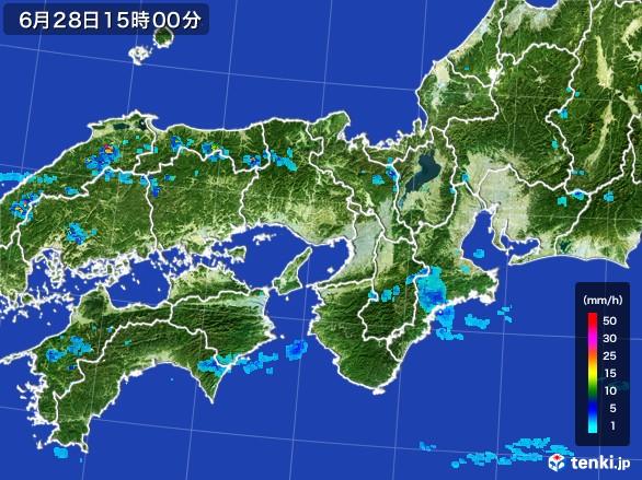 近畿地方の雨雲レーダー(2017年06月28日)