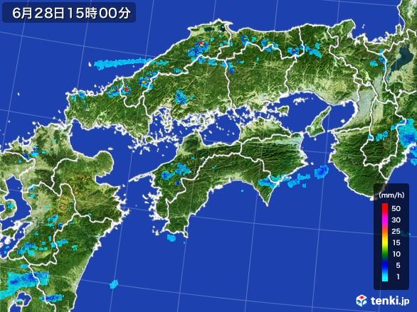 四国地方の雨雲レーダー(2017年06月28日)