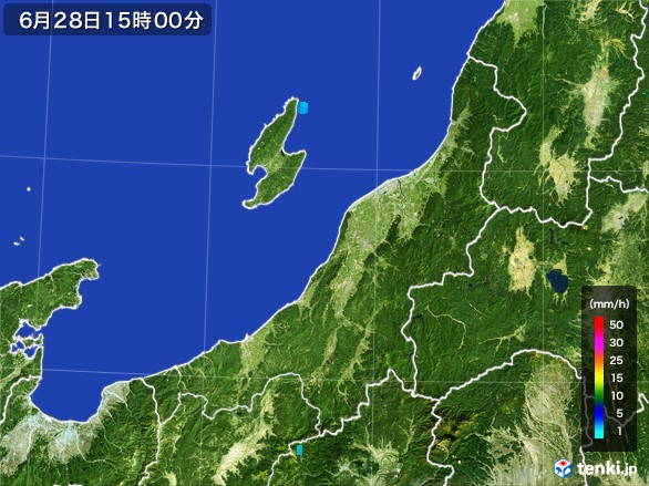 新潟県の雨雲レーダー(2017年06月28日)