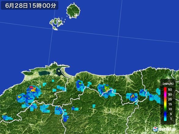 鳥取県の雨雲レーダー(2017年06月28日)