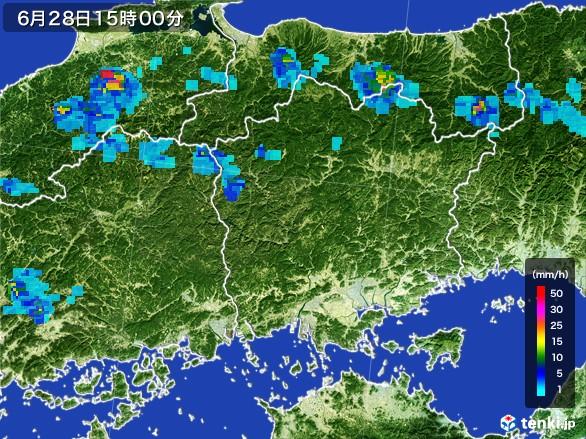 岡山県の雨雲レーダー(2017年06月28日)