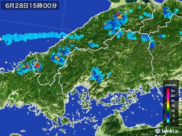 広島県の雨雲レーダー(2017年06月28日)