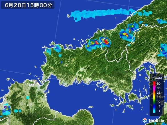 山口県の雨雲レーダー(2017年06月28日)