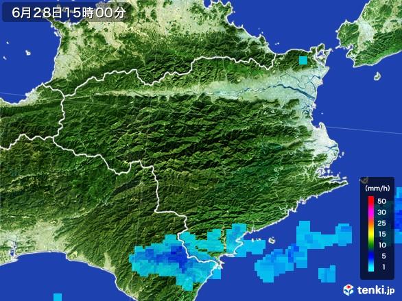 徳島県の雨雲レーダー(2017年06月28日)