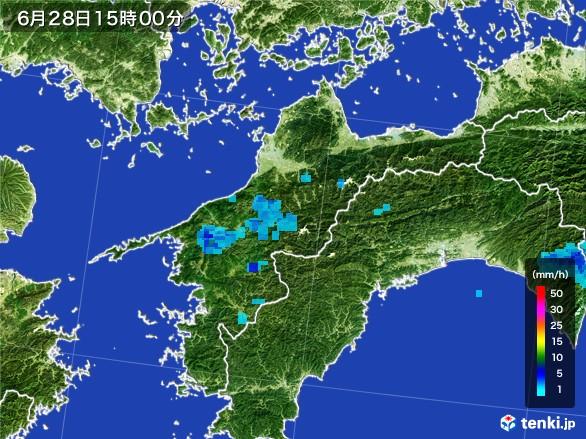 愛媛県の雨雲レーダー(2017年06月28日)