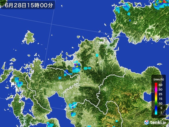 福岡県の雨雲レーダー(2017年06月28日)