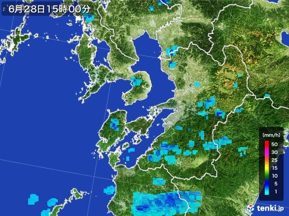 熊本県の雨雲レーダー(2017年06月28日)