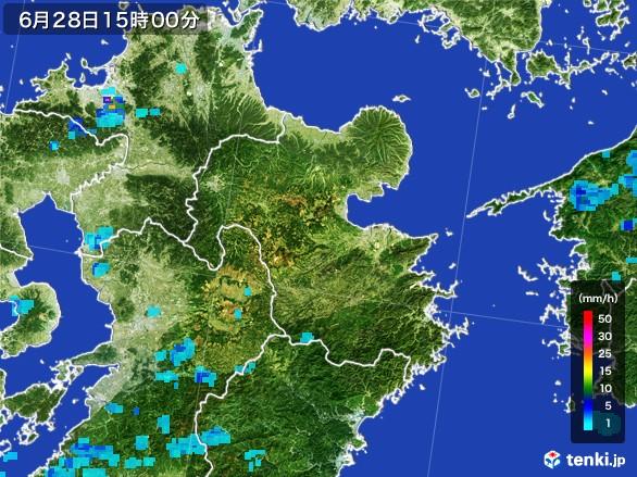 大分県の雨雲レーダー(2017年06月28日)