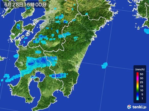 宮崎県の雨雲レーダー(2017年06月28日)