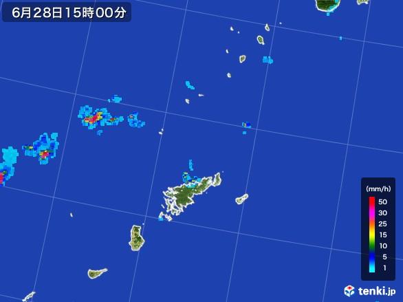 奄美諸島(鹿児島県)の雨雲レーダー(2017年06月28日)