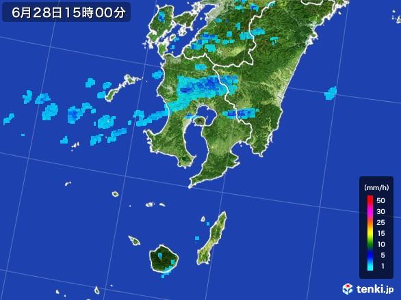 鹿児島県の雨雲レーダー(2017年06月28日)
