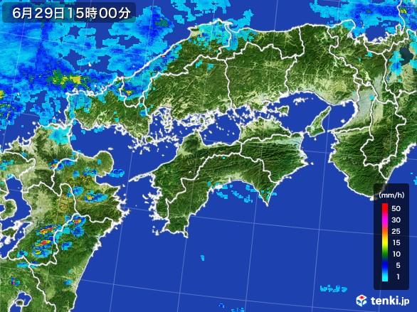 四国地方の雨雲レーダー(2017年06月29日)