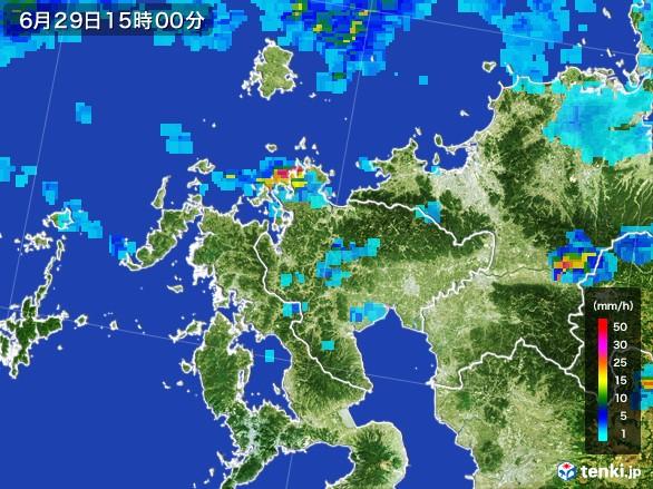 佐賀県の雨雲レーダー(2017年06月29日)