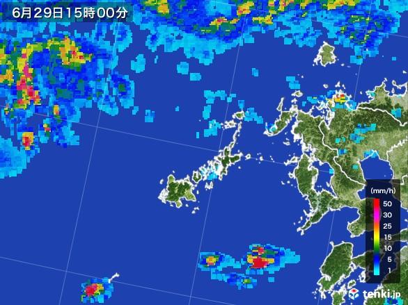 五島列島(長崎県)の雨雲レーダー(2017年06月29日)