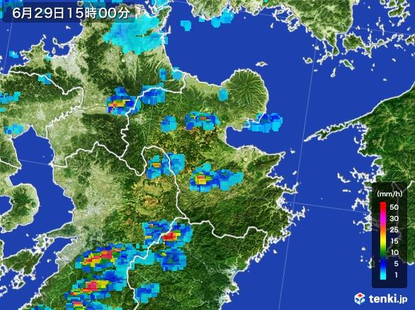 大分県の雨雲レーダー(2017年06月29日)