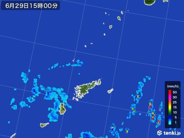 奄美諸島(鹿児島県)の雨雲レーダー(2017年06月29日)